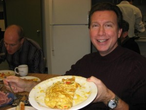 Dave with his omlette