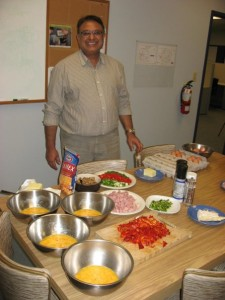 Shabir proudly displays his Mise en place